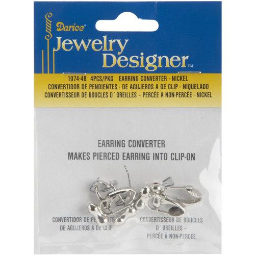 Earring Converters Pierced To Clip-On 4/Pkg-Nickel