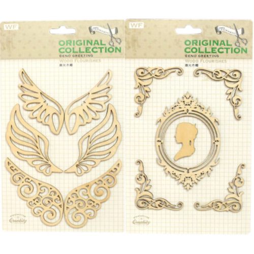 [Women&Wings] DIY Set of 2 Creative Gift/Photo Book Wooden Stickers/Pasters/Tags