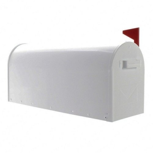 American USA Stylish White Steel Mailbox Red Flag Rottner