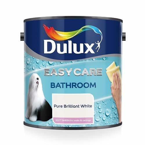 Dulux Easycare Bathroom Plus Soft Sheen Paint, Pure Brilliant White, 2.5 Litre
