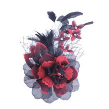 Womens Elegant Pin Brooches Hair Decor Feather And Cloth Flower Brooches, Red
