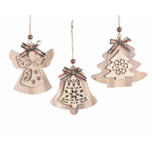 Angel Shaped Christmas Tree.Shaped Rustic Nordic Style Natural Wood Christmas Tree Decorations Set Of 3 Angel Fir Tree Bell Design 12cm