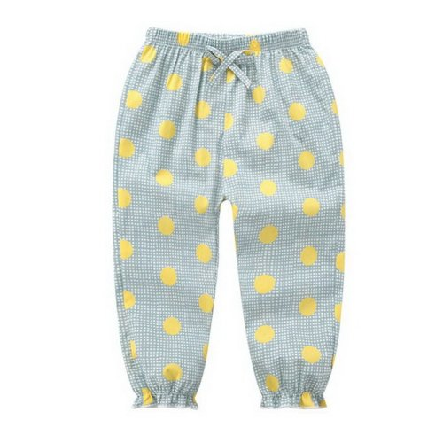 Comfortable Soft Children's Trousers, Grey Bottom And Yellow Dots