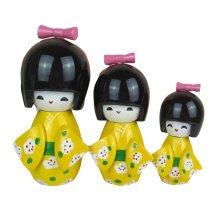 3 Pcs Lovely Japanese Kimono Girl Wooden Dolls With Plum Flower,Yellow