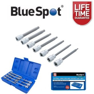 "BlueSpot 7pc 3/8"" Extra Long Spline Socket Bit Set"