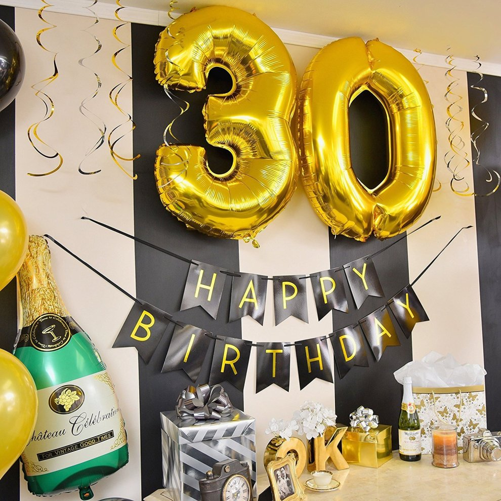 30th Birthday Party Pack Black Gold Happy Bunting Poms And Swirls