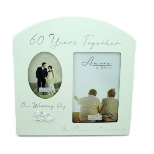 "Amore Diamond 60th Anniversary Wedding Gifts Then & Now Photo Frame - 6""x4"""