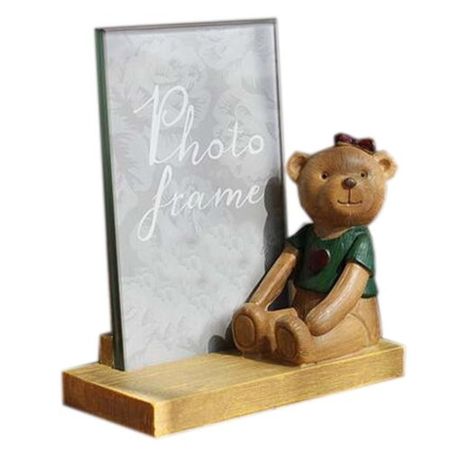 6-inch Photo Frame Lovely Bear Painted Photoframe and Home Decoration, Green
