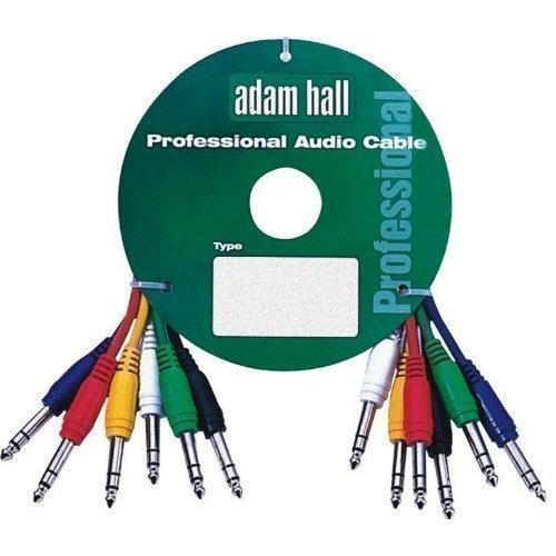 Adam Hall 0.6m stereo balanced jack to jack patch cables. 6 pack