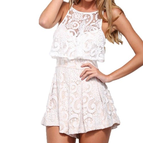 Women Backless Sexy Lace Jumpsuit Casual Sleeveless Bandage Bodysuit Rompers #GB0