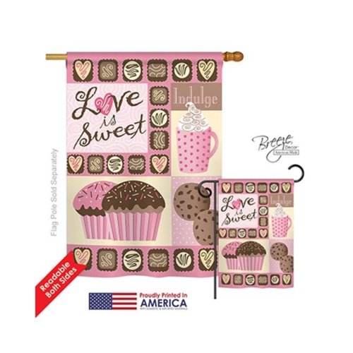 Breeze Decor 01048 Valentines Love is Sweet 2-Sided Vertical Impression House Flag - 28 x 40 in.