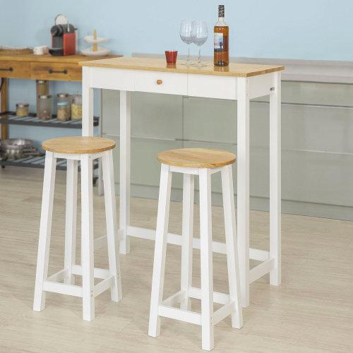 quality design c61d5 47837 SoBuy® FWT50-WN, 3 Pieces Bar Set--1 Bar Table and 2 Stools, Kitchen  Breakfast Bar Set Dining Set