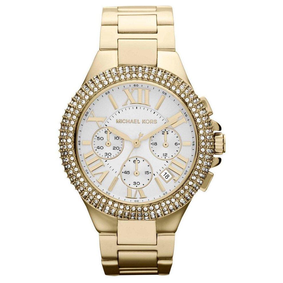 Michael Kors Ladies Bradshaw Chronograph Watch Gold Bracelet White Dial MK5756