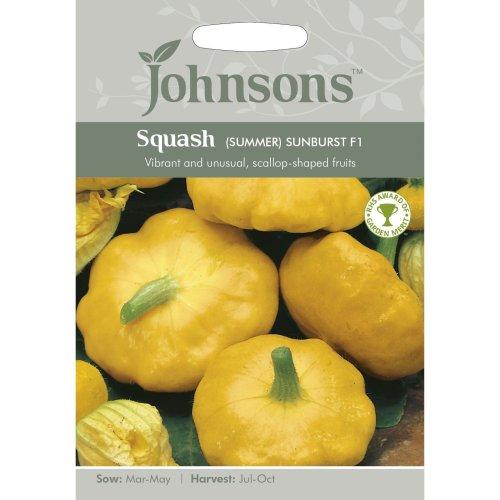 Johnsons Seeds - Pictorial Pack - Vegetable - Squash (Summer) Sunburst F1 - 10 Seeds