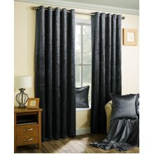Velva crushed velvet graphite dark grey eyelet curtains