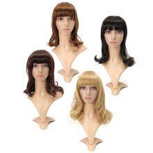 4 Colors Medium Long Curly Wavy Full Wig Bobo Hair Women Party Cosplay 40cm