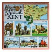 Around Kent Fridge Magnet Souvenir Gift Map Scenes Dover Castle Canterbury Foil