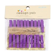 Mini Natural Wooden Clothespins Photo Paper Peg Pin Craft Clips with 2m Jute Twine, F