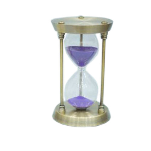Simple Metal Sand Timer Hourglass Sandglass Creative Ornament Gifts, 15 Minutes + Golden Purple