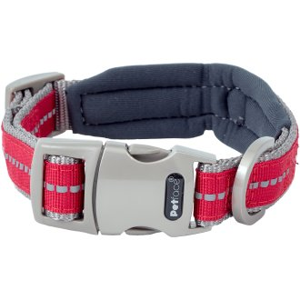 """Petface Signature Padded Collar 12"""" To 14""""-Small-Red"""