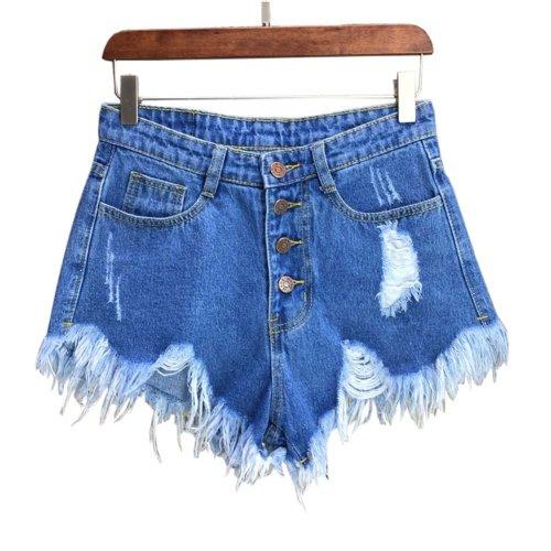 Trendy Shorts Women's Summer High Waist Jeans Shorts Denim Shorts, E