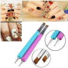 2Pcs Dual-use Nail Art Brush Dotting Pen DIY Design Manicure Tool Painting UV Gel Polish