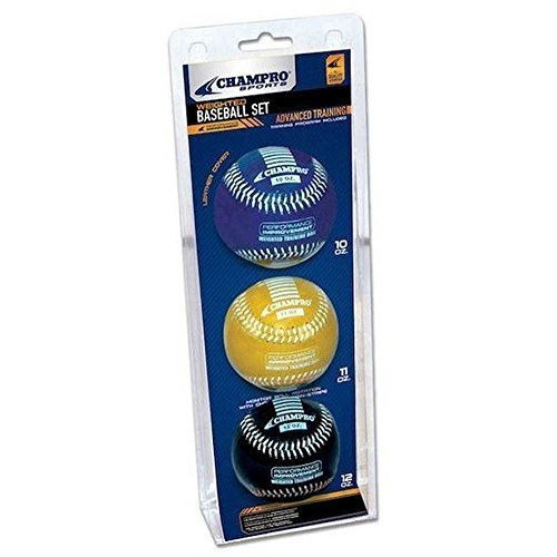 Champro Basic Weighted Training Baseball (Blue/Yellow/Black, 9-Inch)