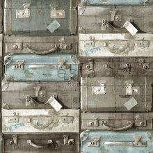 HD non-woven wallpaper vintage suitcases sea ??green and brown