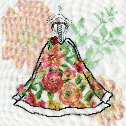 """Design Works Counted Cross Stitch Kit 10""""X10""""-Corset Dress (14 Count)"""