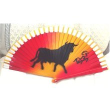 Red and Black bull Fan 1980's spanish bull Hand Fan 1980's Vintage