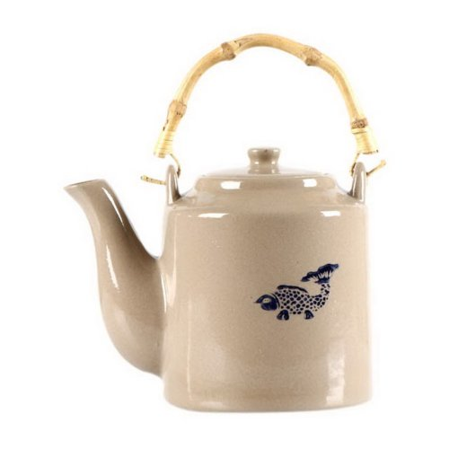 28 Oz Earthenware Old Beam Pot Nostalgic Teapot With Bamboo Handle, Fish Pattern