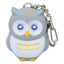 TRIXES Novelty Grey Hooting Light Up Owl Keyring