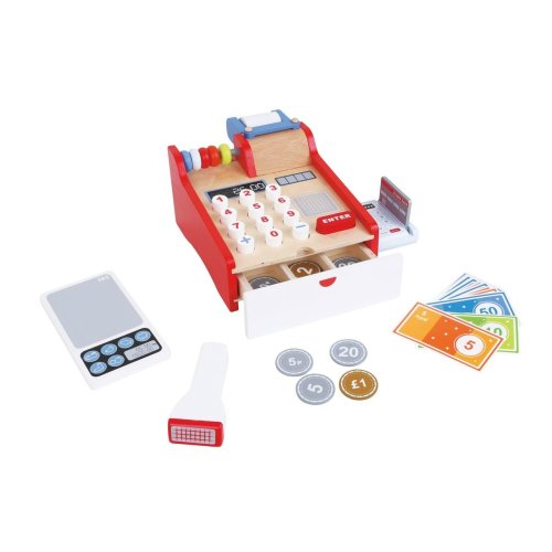 Lelin Wooden Cash Register Childrens Shopping Shop Grocery Checkout Till Toys
