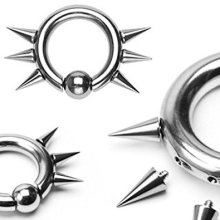 Easy Snap In Ball With Spikes Internally Threaded CBR Captive Bead Ring Universal Piercing Body Jewellery