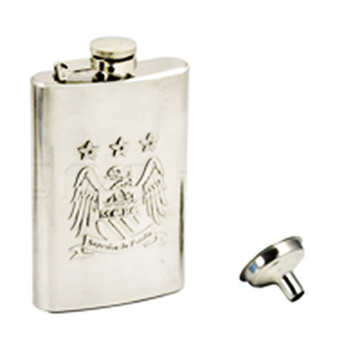 Manchester City Fc Hip Flask (chrome With Funnel) - Official Football Chrome -  manchester city official football chrome fc gift licensed hipflask