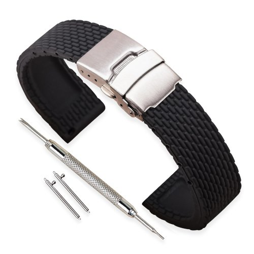 Vinband Watch Strap High Quality Replacement Rubber Band Men Women Black 18mm 20mm 22mm 24mm Silicon Bracelet With Quick Release