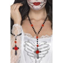 Smiffy's 44920 Day Of The Dead Rosary Bead Set (one Size) -  day dead rosary bead set fancy dress halloween accessory