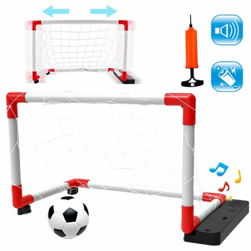 deAO 2-in-1 Indoor and Outdoor Electronic Moving Football Goal Game Toy for Kids - Shooting Training Aid, Moves from Side To Side, Ball Included.