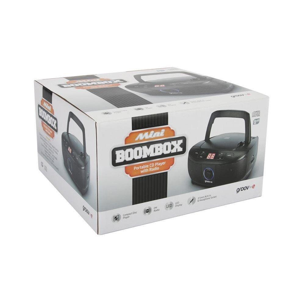 Groov-e Mini Boombox Portable CD Player with FM Radio