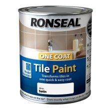 Ronseal One Coat Tile Paint 750ml - SATIN White