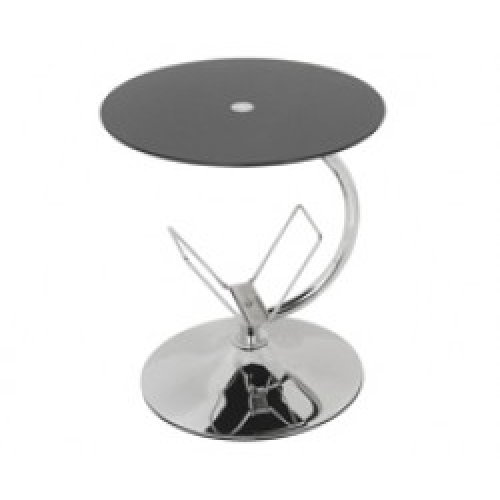 King Black Glass Decorative End Table Side Table Coffee Table, Round, 45cm x 45cm, for Living Rooms, Lounges, Study, etc