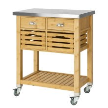 SoBuy® FKW40-N, Bamboo Kitchen Storage Trolley with Stainless Steel Worktop