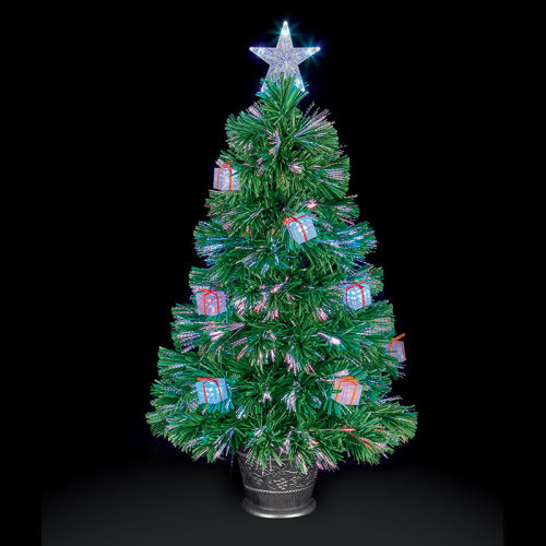 Premier Decorations - Fibre Optic Multi-Colour Changing LED Christmas Tree with Parcels