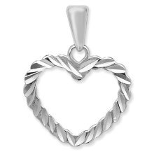 Childrens Sterling Silver Diamond Cut Open Heart Pendant On A Curb Necklace