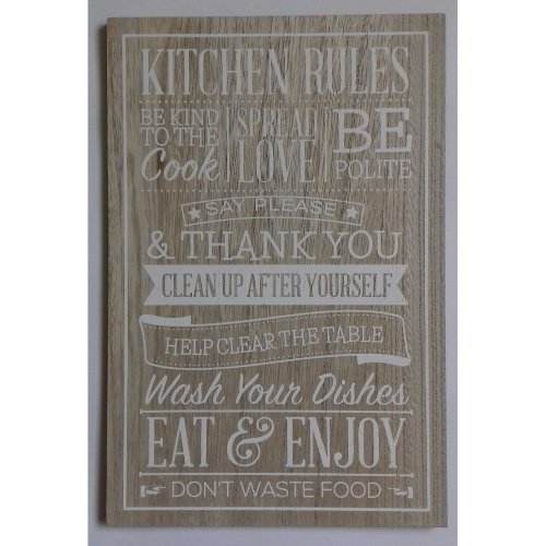 """Kitchen Rules Hanging Plaque - Size Approx 12"""" x 8"""""""