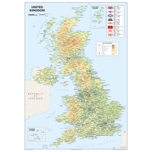 United Kingdom of Great Britain and Northern Ireland Map - A2 Size 42 x 59.4 cm