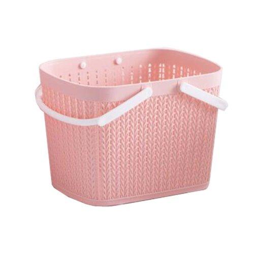 Bath Storage Basket Plastic Storage Basket with Handles ?Pink?