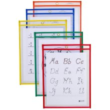 """Reusable Dry Erase Pockets 9""""X12"""" 10/Pkg-Assorted Primary Colors"""