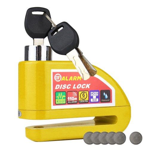 HMF 3510-17 Motorcycle Lock, Brake Disc Lock, Alarm Function, 110 db, Outdoor, 9 x 7 x 3,5 cm, yellow