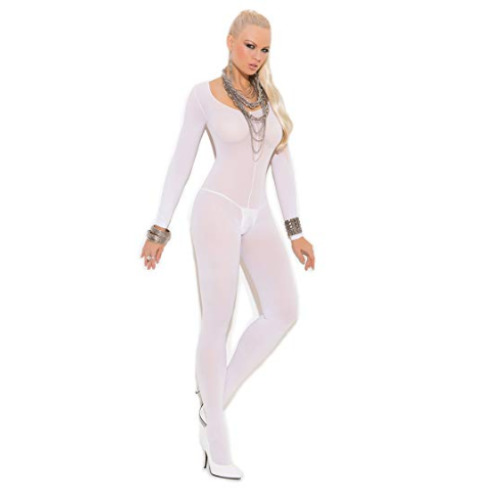 Elegant Moments Long Sleeve Bodystocking (One Size White) (Lingerie - Opaque)